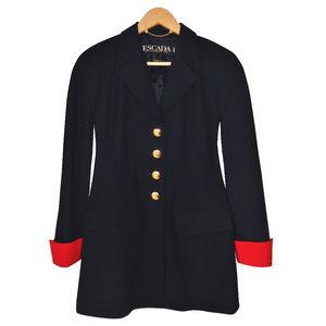 ESCADA 100% Virgin Wool Navy Blue Blazer 34